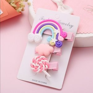 3/$20 Pink Cloud Lollipop Rainbow Hair Clip Set